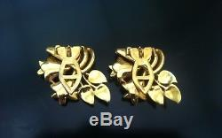 Vintage Coro Rhinestone Enamel Flower Floral Duette Pin Brooch Clips 1940 Rare