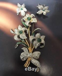 Vintage Corocraft Sterling Flower Brooch & Earrings Set