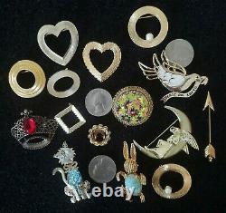 Vintage Costume Jewelry Lot Brooches Pins Signed Weiss Kramer Lisner Monet LJM +