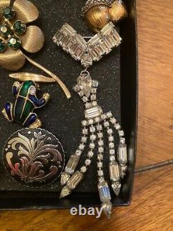 Vintage Costume Jewelry Lot- Rhinestone Necklaces, Brooches- 20 Pieces