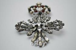 Vintage Cross & Crown heraldic brooch pin, Schreiner jewelry 1950s