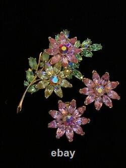 Vintage Crown TRIFARI Pastel Rhinestone Flower Pin Brooch Earring Set
