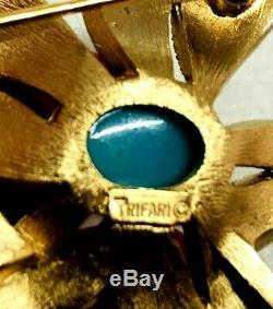 Vintage Crown Trifari Blue Cabochon & Rhinestone Dbl. Flower Brooch Original Tag