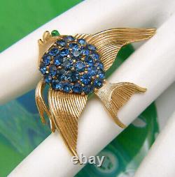 Vintage Crown Trifari Blue Rhinestone Fish Brooch Green Glass Eyes