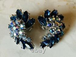Vintage Crown Trifari Brooch, Earrings & Bracelet Set With Sapphire Blue & AB