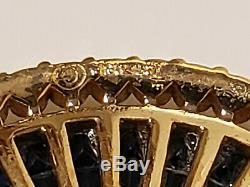 Vintage Crown Trifari Brooch Pin Blue Sapphire Rhinestones Alfred Philippe Tag