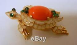 Vintage Crown Trifari Cabochon Faux Coral Rhinestone TURTLE Pin Brooch Rare