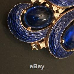 Vintage Crown Trifari L'Orient Cobalt Blue Cabochons Rhinestone Enamel Brooch