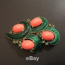 Vintage Crown Trifari L'Orient Green Coral Cabochons Rhinestone Enamel Brooch