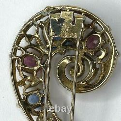 Vintage Crown Trifari Question Mark Fur Pin Brooch Pin Pink Blue Rhinestones