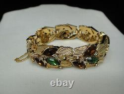 Vintage Crown Trifari Rhinestone Bracelet Brooch Pin Earrings Gold Tone 60s Set