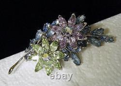 Vintage Crown Trifari Rhinestone Flowers Brooch Faux Alexandrite Blue Green