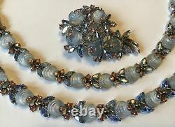 Vintage Crown Trifari Signed Blue Glass Shoe Button Necklace Bracelet & Brooch