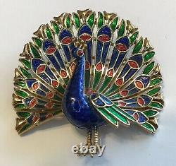 Vintage Crown Trifari Signed Blue Red & Green Enamel Peacock Brooch
