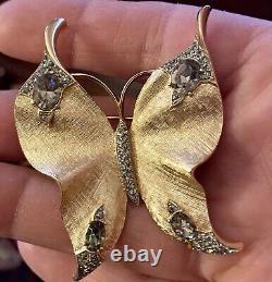 Vintage Crown Trifari Signed Butterfly Brooch & Earrings