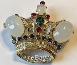 Vintage Crown Trifari Signed Coronation Crown Brooch 1988