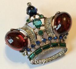 Vintage Crown Trifari Signed Sterling Silver Coronation Crown Brooch 5n