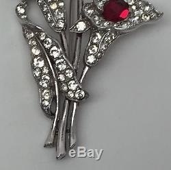 Vintage Crown Trifari Spaney Ruby Red Rhinestone Calla Lily Flower Pin Brooch