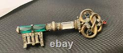 Vintage Crown Trifari Sterling Rhinestone Key Brooch Figural Pin Philippe 1940s