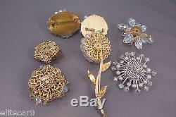 Vintage Crystal Rhinestone Flower Brooch Pin Lot Figural Lot 1950's Wedding