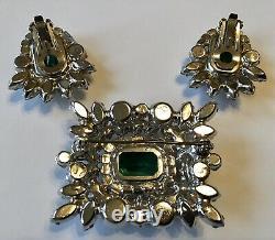 Vintage D & E Juliana Flawed Emerald Rhinestone Brooch & Earrings