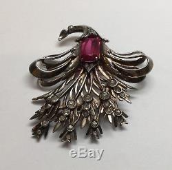 Vintage DeRosa Sterling Silver Rhinestone Bouquet Pin Brooch