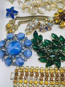 Vintage Designer Rhinestone Jewelry Lot 21 Pc Brooch Pins Bracelet Necklace +