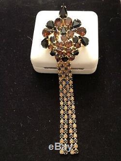 Vintage Designer Signed Alice Caviness Pin Brooch Crystal Rhinestone Tassel