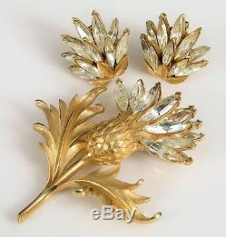 Vintage Designer Signed Crown Trifari Brooch Earring Set Floral Rhinestone Fine