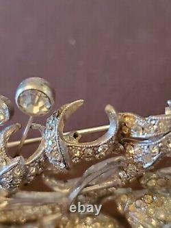 Vintage Designer Signed Staret Rare Large Rhinestone Flower Brooch Pin As Is