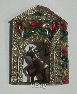 Vintage Dog House Brooch Pin Rhinestone Enamel Figural