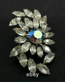 Vintage Donald Simpson Jewellery with Blue Aurora Rhinestone Brooch