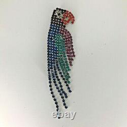 Vintage Dorothy Bauer Parrot Brooch Pin Rhinestones Large Signed Blue Green Bird