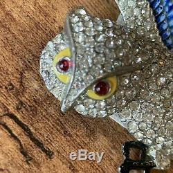Vintage EARLY CORO Rhinestone & Enamel Screech Owl Brooch R Geissman SIGNED