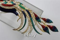 Vintage EISENBERG ICE Rhinestones BIRD OF PARADISE Enamel Multi Color Brooch