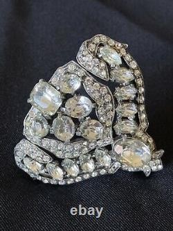 Vintage Eisenberg Crystal Rhinestone Fur Clip Brooch Pin FREE Shipping USA