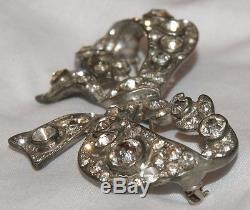 Vintage Eisenberg Original Lrg Rhinestone Studded Bow Brooch Pin