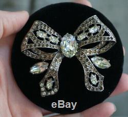 Vintage Eisenberg Original Sterling Silver 925 Bow Clear Rhinestone Brooch Pin