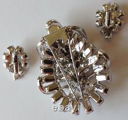 Vintage Eisenberg Signed Clear Rhinestone Fur Clip Brooch And Earrings