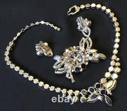 Vintage Eisenberg Signed Clear Rhinestone Necklace Brooch And Earrings E22