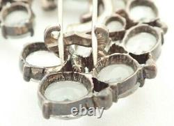 Vintage Eisenberg Signed Sterling Silver Rhinestone 2 1/2 Fur Clip Brooch Pin