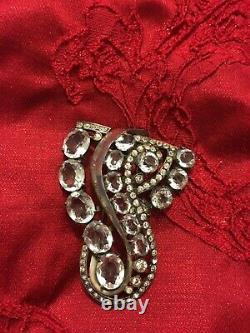 Vintage Eisenberg Sterling Rhinestone Fur Clip Brooch Pin 1940s