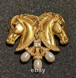 Vintage Elizabeth Taylor for Avon Hearts in Tandem Double Horse Brooch