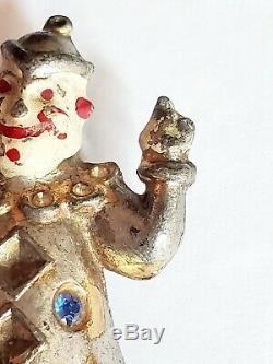 Vintage Elsa Schiaparelli 1930s'Le Cirque' Clown Fur Clip Brooch Rhinestones