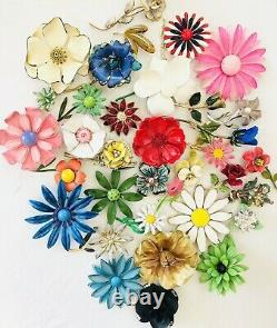 Vintage Enamel Flower Brooch/Pin Lot Mod Power 60's Retro Rhinestones 35 Total