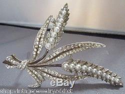 Vintage Enamel Rhinestone Pearl Flower Pin 4 Brooch 1940's Great Figural