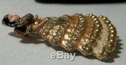 Vintage Enamel Rhinestone Victorian Woman Brooch Fur Clip Figural 1940s