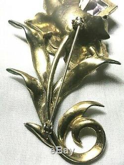 Vintage Enameled Figural Orchid Flower Lavender Large Rhinestone Brooch