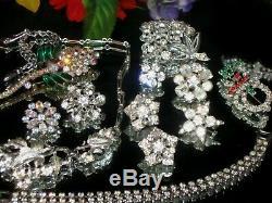 Vintage Estate Mixed Ab Rhinestone Jewelry Lot Weiss Coro Brooch Choker Sets