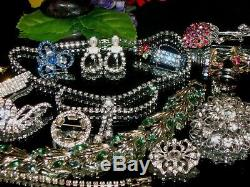 Vintage Estate Mixed Ab Rhinestone Jewelry Lot Weiss Coro Lind Star Brooch Nice